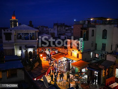 Morocco Fes Medina view on the arabic market at night
