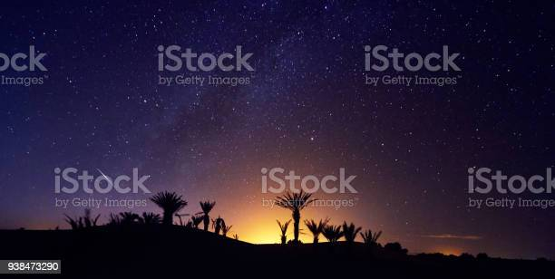 Photo of Morocco Sahara desert starry night sky over the oasis. Travelling to Morocco. Glow over the palm trees of the oasis. Billions of stars in the night sky, milky way. Panoramic photo