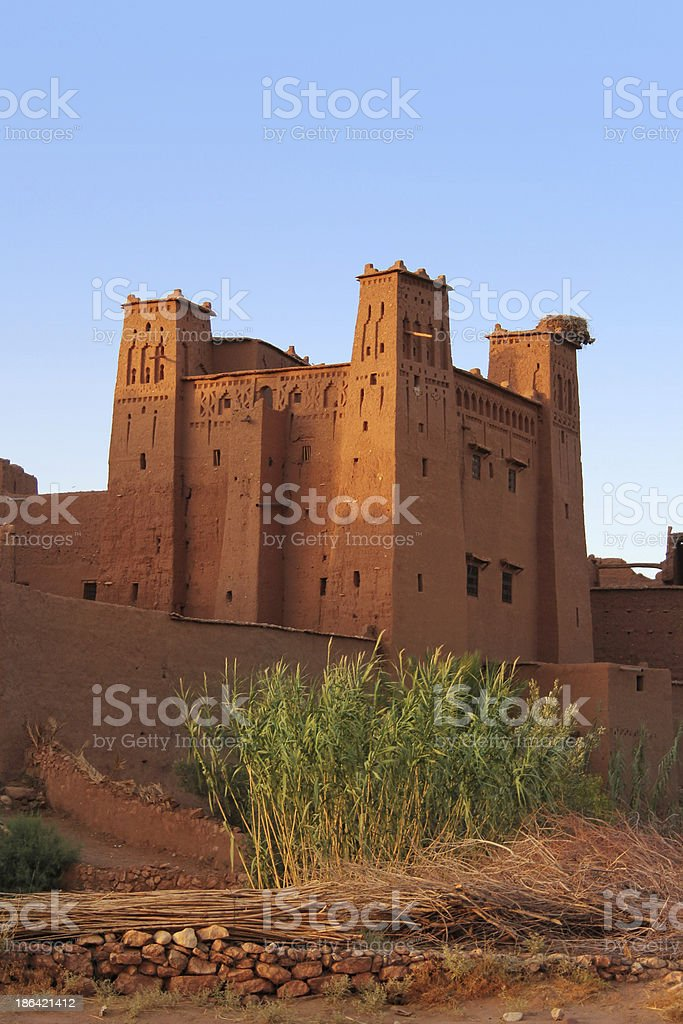Morocco: Sunset at the old clay kasbah of Aït Benhaddou royalty-free stock photo