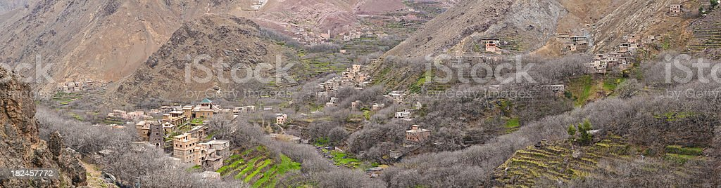 Morocco traditional mountain village High Atlas homes terraces panorama Africa royalty-free stock photo