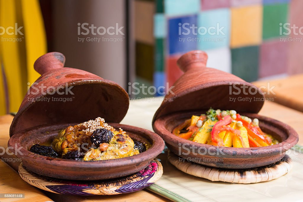 Morocco typical dish - meat and vegetable in a tajine. stock photo