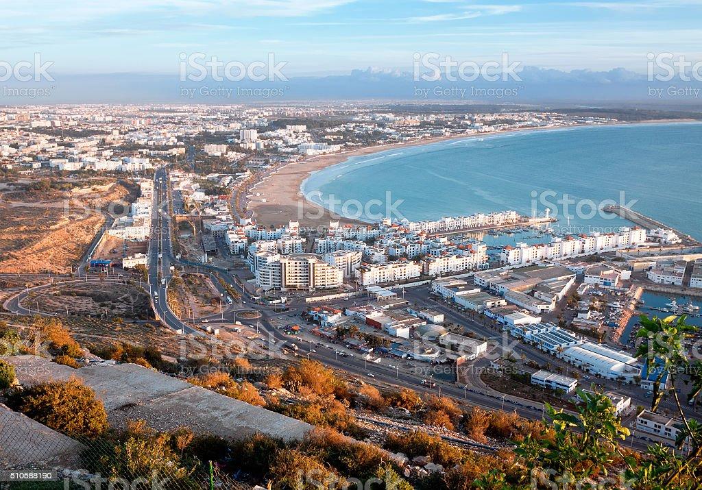 Morocco, view beach and marina of Agadir foto