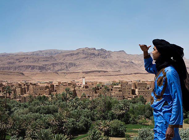 Morocco - Village on Atlas Mountain stock photo