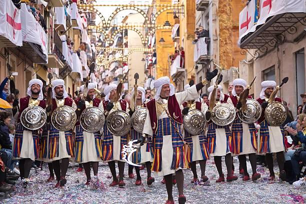 moros y cristianos parade in alcoy, spain - ムーア様式 ストックフォトと画像