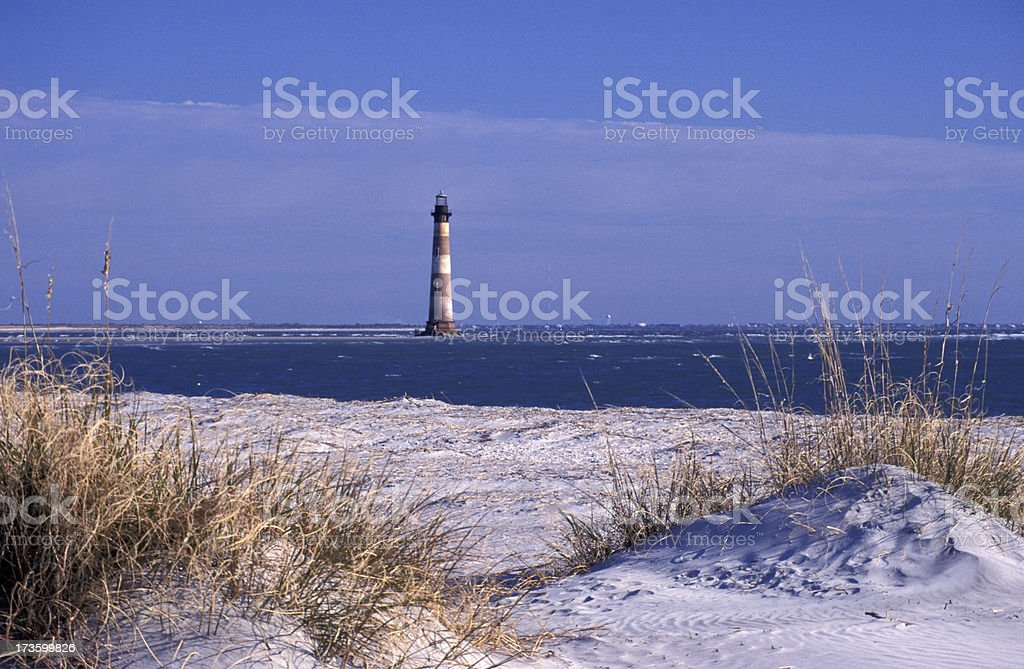 Morris Island Lighthouse at Folley Beach royalty-free stock photo