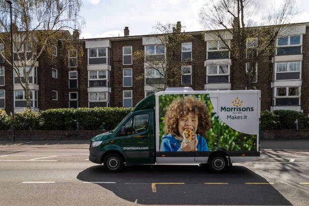 Morrisons Delivery Truck on a Road in London stock photo