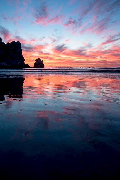 morro bay sunset - central coast california stock photos and pictures