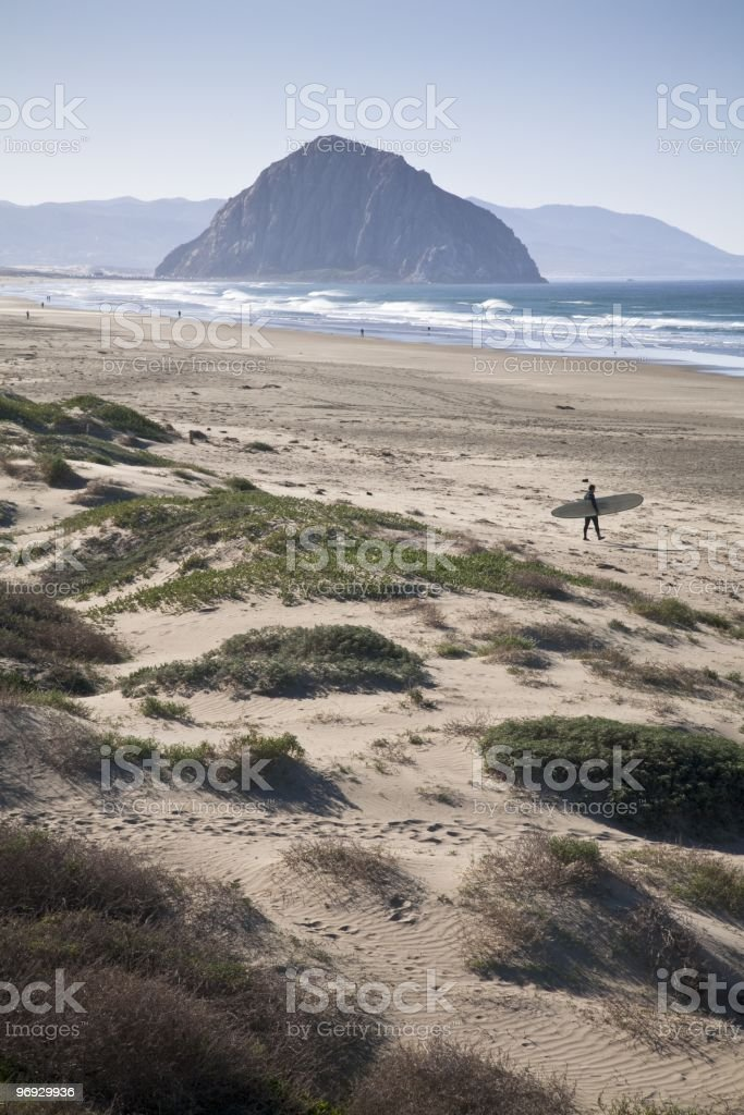 Morro Rock Surf Beach royalty-free stock photo