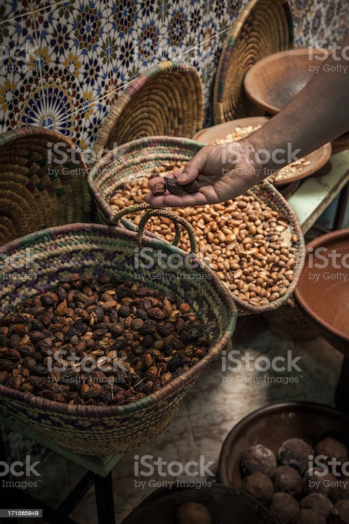 Morrocan Argan fruit for oil extraction stock photo