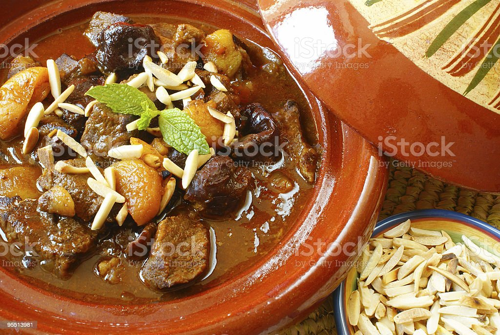 Morrocan beef stew with plums and dried apricots stock photo