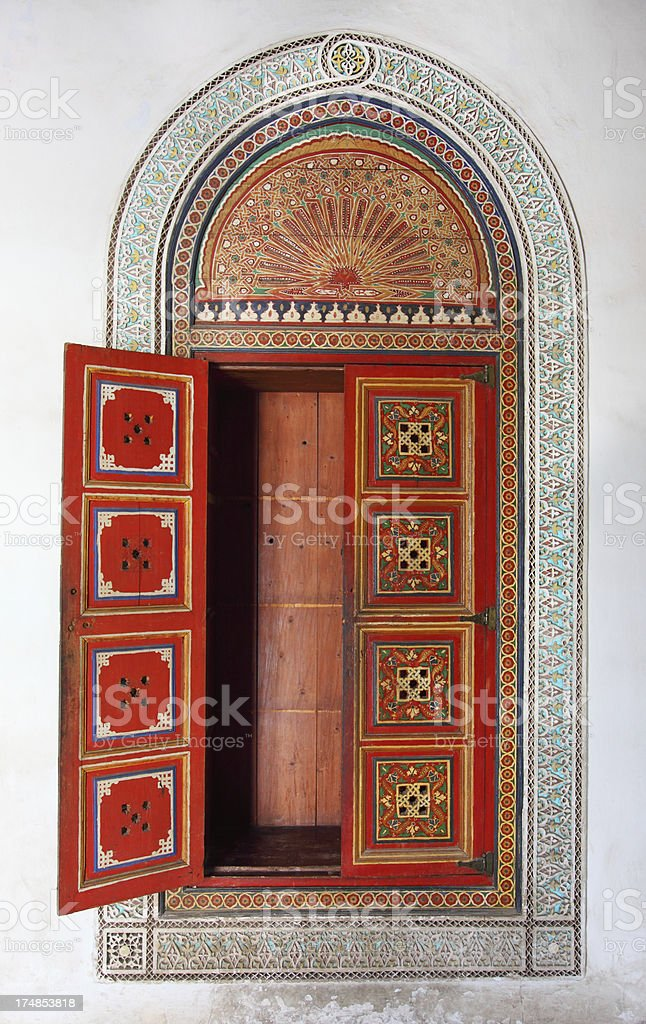 Morrocan decorativly painted stucco cupboard royalty-free stock photo