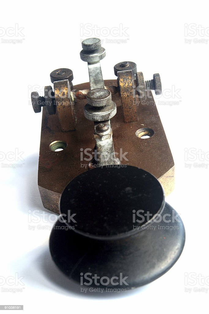 WW1 Morse Code Key / Tapper - End view stock photo