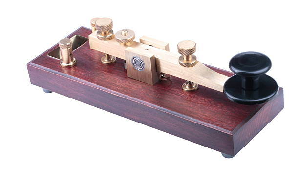 morse key isolated - ham radio stock photos and pictures