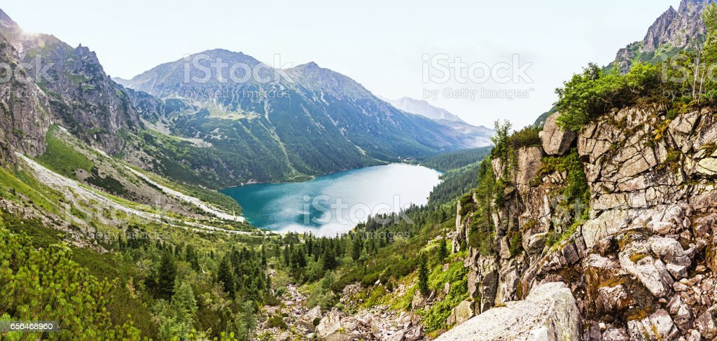 Morskie Oko lake, High Tatras Mountains, Poland stock photo