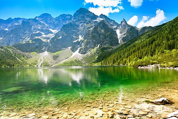'morskie oko' lake in tatra mountains - poland stock photos and pictures