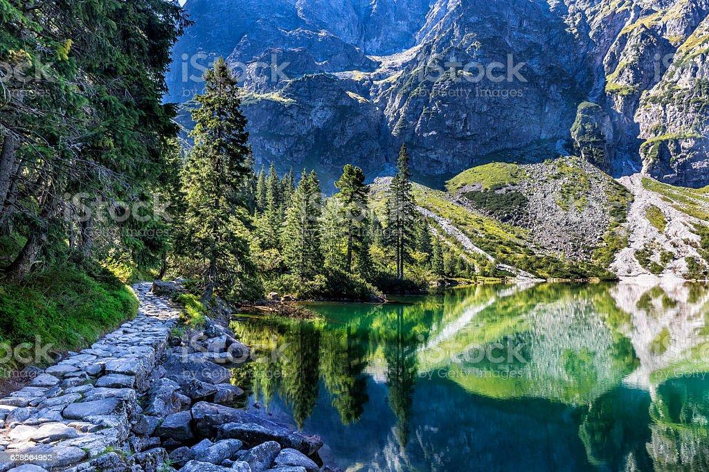 Morskie oko lake in Tatra Mountains, Poland stock photo