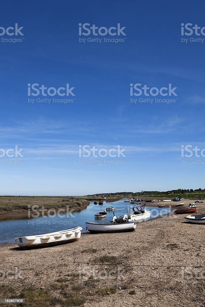 Morston quay with Blakeney in the distance royalty-free stock photo