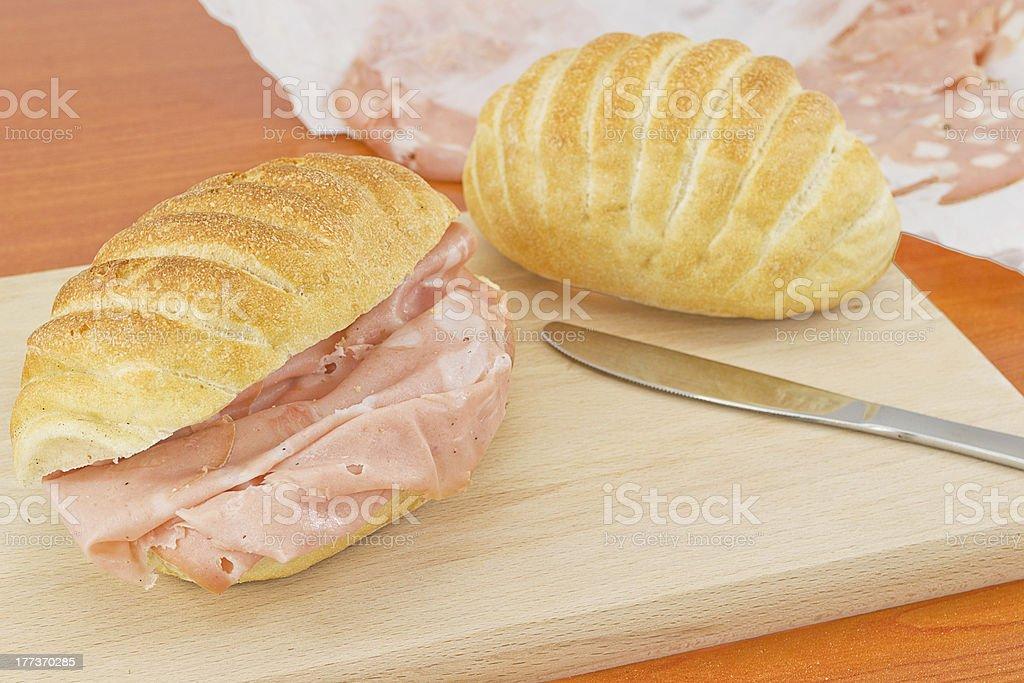 mortadella sandwich- bologna stock photo
