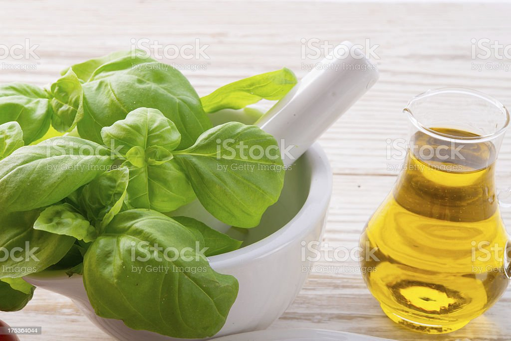 Mortar and basil stock photo
