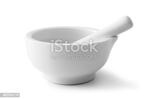 Mortar and Pestle, Isolated On White, Clipping Path