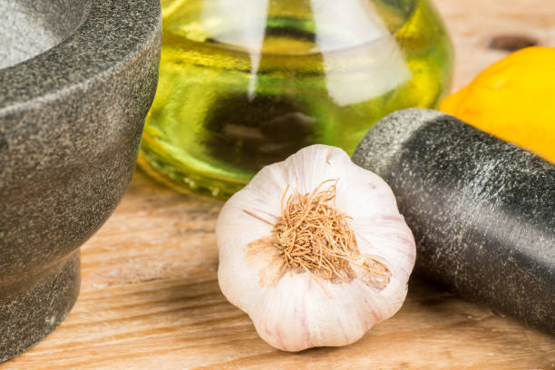 Mortar and pestle with alioli ingredients stock photo