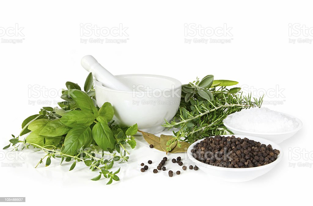 Mortar and Pestle with Herbs, Spices stock photo