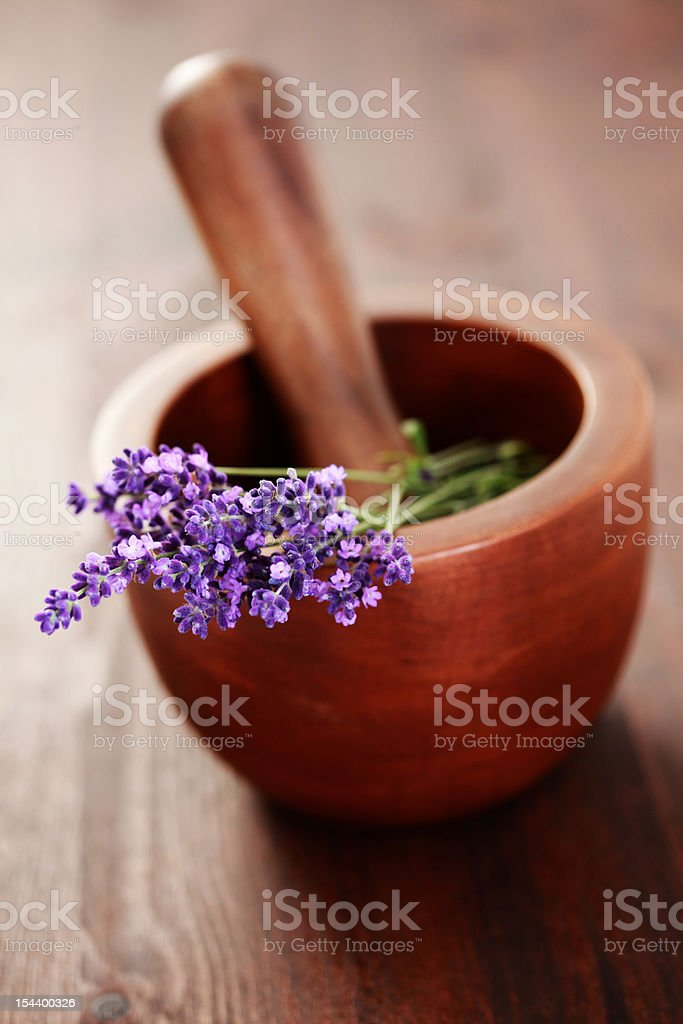 mortar and pestle with lavender royalty-free stock photo