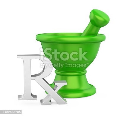 Mortar and Pestle with RX Prescription Medicine Symbol isolated on white background. 3D render