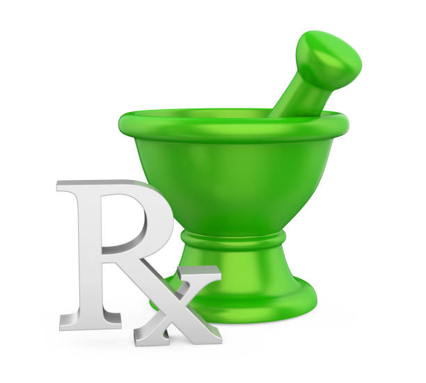 Mortar and Pestle with RX Prescription Medicine Symbol Isolated Mortar and Pestle with RX Prescription Medicine Symbol isolated on white background. 3D render rx stock pictures, royalty-free photos & images