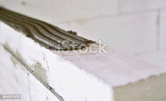 istock Mortar bed closeup 844031420