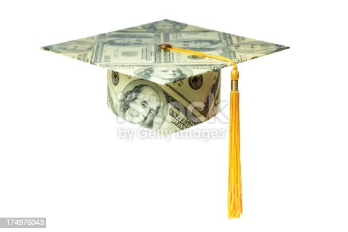 A graduation mortar board cap made with US currency money, cut out and isolated on white background. One hundred dollar bills pattern with tassel, for concepts of education costs, university finances, saving for college tuition, and job training expenses, as well as achievement, success, and value of a higher degree.