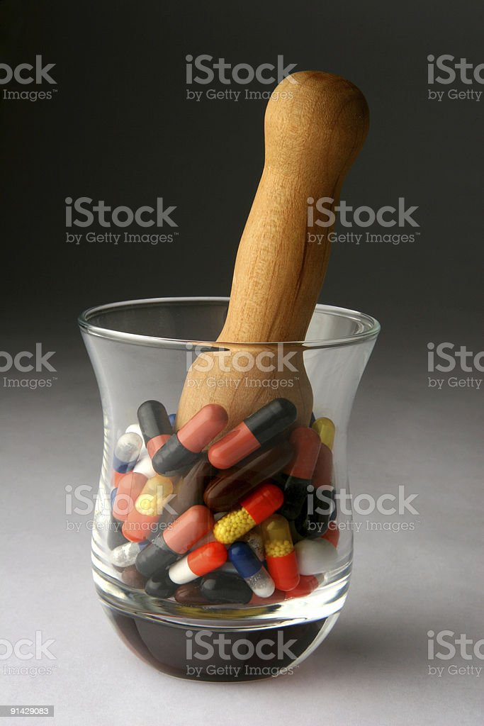 Mortar of Pills royalty-free stock photo