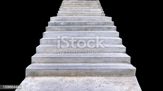 Mortar stairs up. Isolated on background