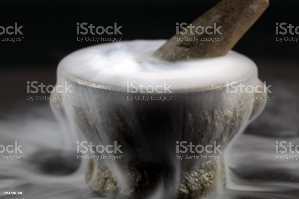 Mortar with fog stock photo