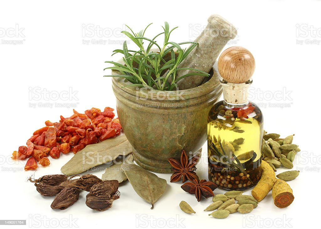 Mortar with spices royalty-free stock photo