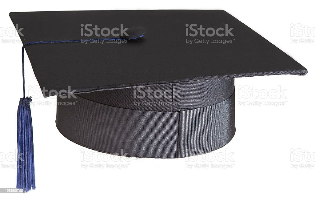 mortarboard on white background stock photo