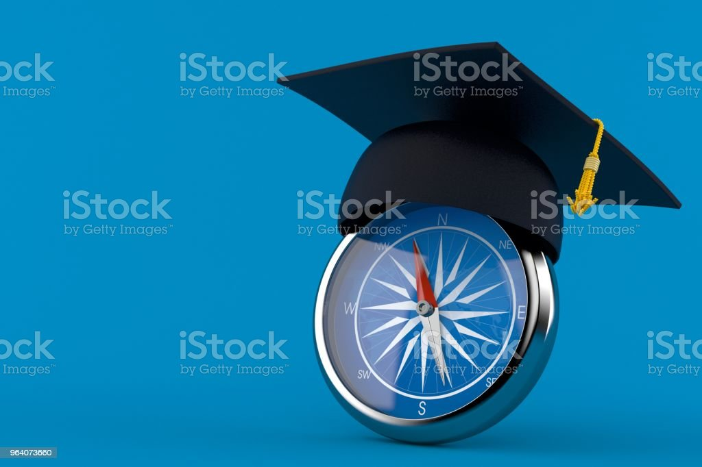 Mortarboard with compass - Royalty-free Adventure Stock Photo