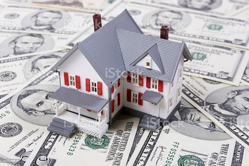Mortgage and down payment stock photo
