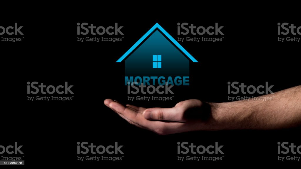 Mortgage concept projection of house stock photo
