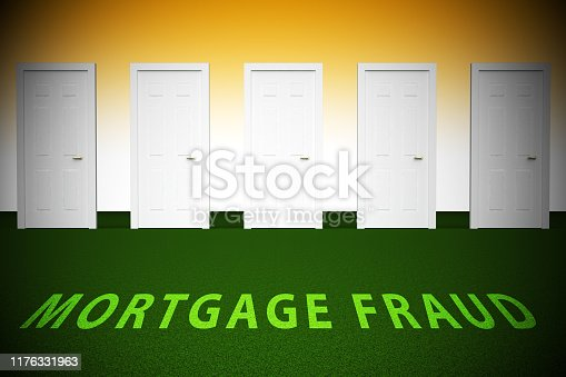Mortgage Fraud Doorway Represents Property Loan Scam Or Refinance Con. Fraudster Doing Hoax For Finance Or Equity Release - 3d Illustration