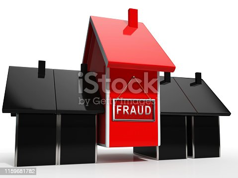 Mortgage Fraud Icon Represents Property Loan Scam Or Refinance Con. Fraudster Doing Hoax For Finance Or Equity Release - 3d Illustration