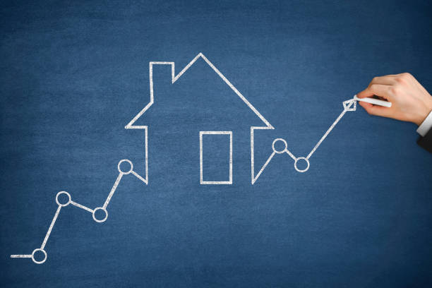Mortgage Graph with Ascending Price Arrow stock photo
