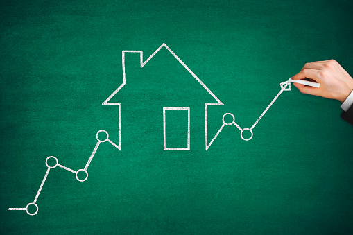 831745600 istock photo Mortgage Graph with Ascending Price Arrow 1267495715
