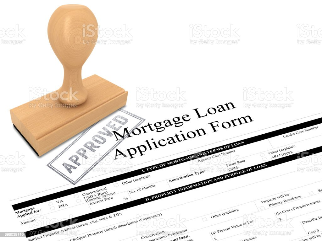 Mortgage loan application form rubber stamp approved stock photo
