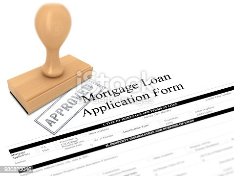 istock Mortgage loan application form rubber stamp approved 930820046