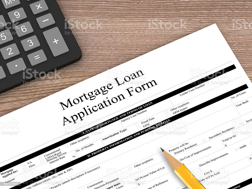 Mortgage loan contract form wooden desk top view royalty-free stock photo