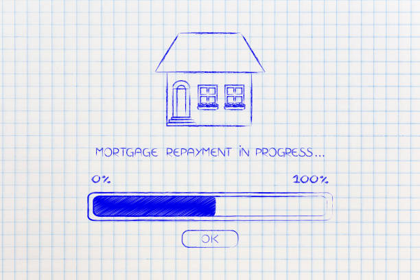 mortgage repayment house with progress bar loading stock photo