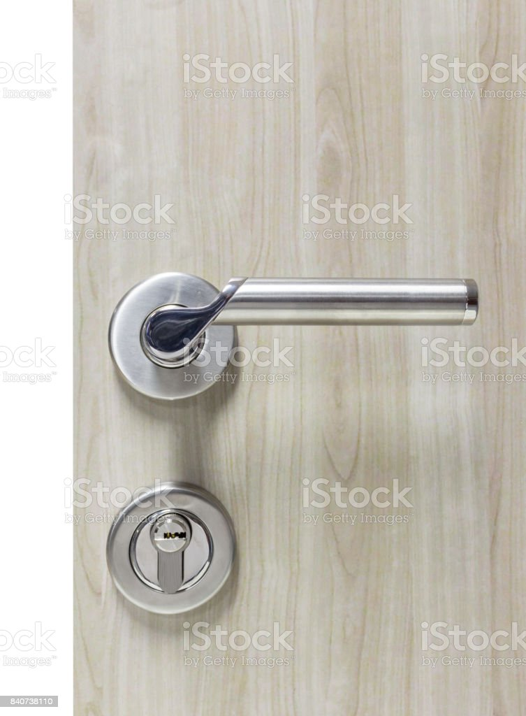 Picture of: Mortise Lock Set For Door On Laminate Wood Door Stock Photo Download Image Now Istock