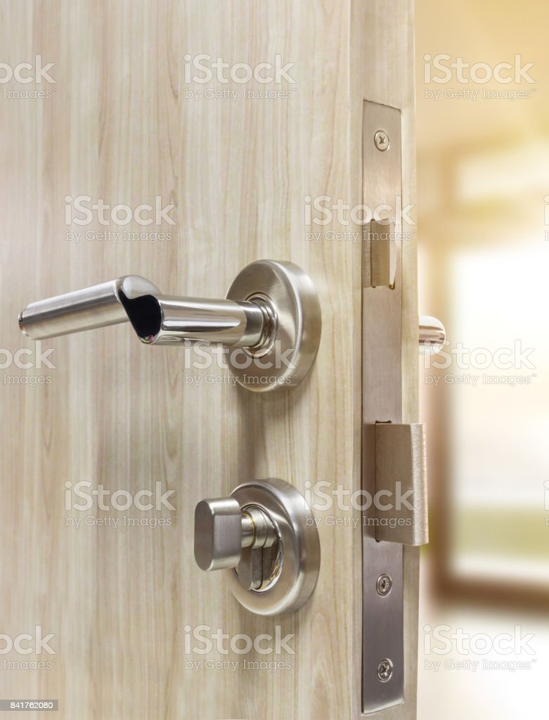 Mortise Lock Set Of Wood Door With Living Room Stock Photo Download Image Now Istock