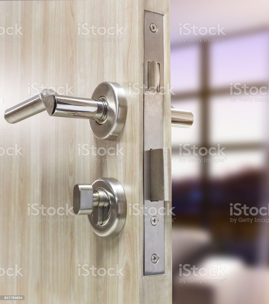 Picture of: Mortise Lock Set Of Wood Door With Living Room Stock Photo Download Image Now Istock